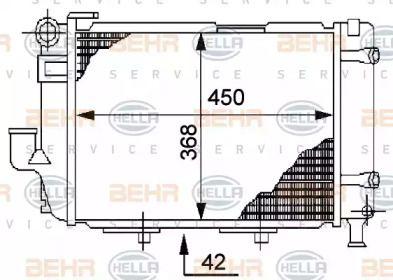 Радиатор охлаждения двигателя 'BEHR/HELLA 8MK 376 711-364'.