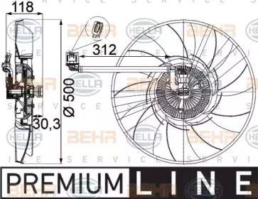 Вентилятор охлаждения радиатора 'BEHR/HELLA 8MV 376 757-311'.