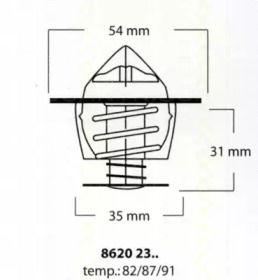 Термостат, охлаждающая жидкость на OPEL MONZA 'TRISCAN 8620 2387'.