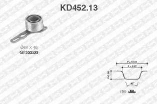 Комплект ременя ГРМ 'SNR KD452.13'.