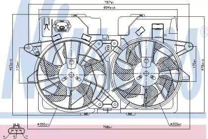Вентилятор охолодження радіатора на MAZDA TRIBUTE 'NISSENS 85278'.