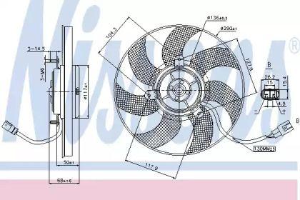Вентилятор охлаждения радиатора на SKODA OCTAVIA A5 'NISSENS 85680'.