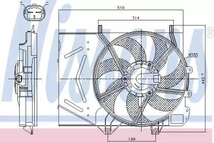 Вентилятор охлаждения радиатора на Пежо 207 'NISSENS 85986'.