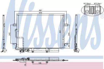 Радіатор кондиціонера на Mercedes-Benz W211 NISSENS 94614.