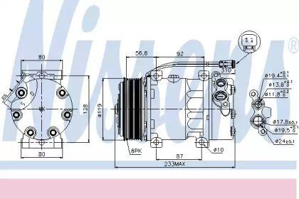 Компрессор кондиционера 'NISSENS 89035'.