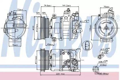 Компрессор кондиционера на VOLKSWAGEN JETTA 'NISSENS 89421'.