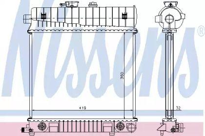 Алюмінієвий радіатор охолодження двигуна на Mercedes-Benz W210 NISSENS 62708A.