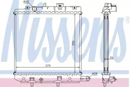 Алюмінієвий радіатор охолодження двигуна на MAZDA DEMIO NISSENS 62455A.