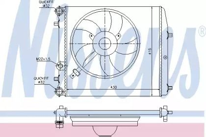 Алюмінієвий радіатор охолодження двигуна на Шкода Рапід 'NISSENS 64103'.