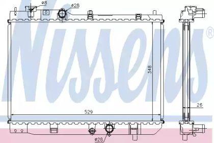 Алюмінієвий радіатор охолодження двигуна на MAZDA PREMACY NISSENS 62431A.