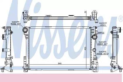 Радіатор охолодження двигуна на Мерседес W212 NISSENS 67167.