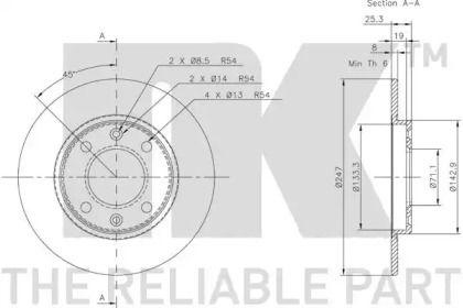 Тормозной диск NK 209947 технический рисунок 1