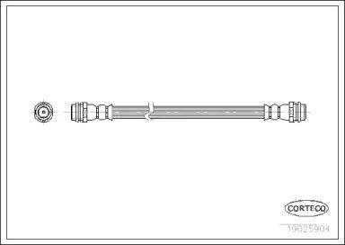 Шланг тормозной задний на SKODA OCTAVIA A5 'CORTECO 19025904'.