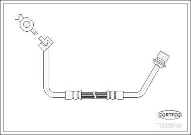 Шланг тормозной передний правый 'CORTECO 19032196'.