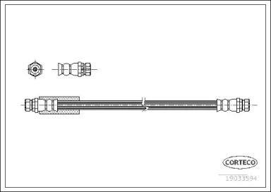 Шланг тормозной задний на SEAT ALTEA 'CORTECO 19033594'.