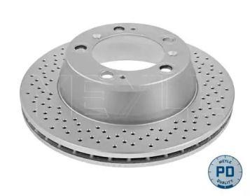 Вентилируемый задний тормозной диск с перфорацией на Порше 911 'MEYLE 483 523 0002/PD'.