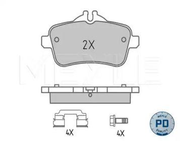 Заднї гальмівні колодки на Mercedes-Benz GLE  MEYLE 025 252 1618/PD.