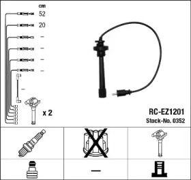 Високовольтні дроти запалювання на Мазда МПВ 'NGK 0352'.