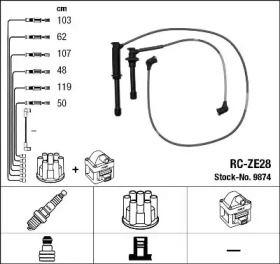 Високовольтні дроти запалювання на Мазда Кседос 9 'NGK 9874'.