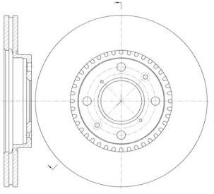 Вентилируемый передний тормозной диск на OPEL AGILA 'ROADHOUSE 61002.10'.