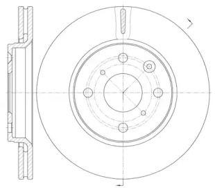 Вентилируемый передний тормозной диск на Ситроен С1 'ROADHOUSE 61003.10'.