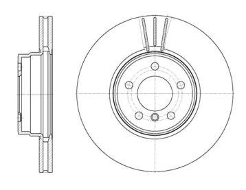 Вентилируемый передний тормозной диск на Рендж Ровер 'ROADHOUSE 61028.10'.