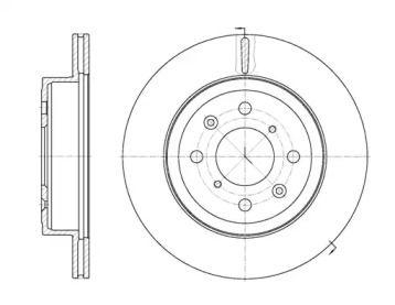 Вентилируемый передний тормозной диск на OPEL AGILA 'ROADHOUSE 61038.10'.