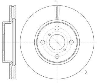 Вентилируемый передний тормозной диск на Дайхатсу Шарада 'ROADHOUSE 61169.10'.
