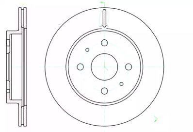 Вентилируемый передний тормозной диск на Дайхатсу Куоре 'ROADHOUSE 61190.10'.