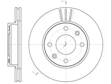 Вентилируемый передний тормозной диск на Ситроен Виза 'ROADHOUSE 6133.10'.