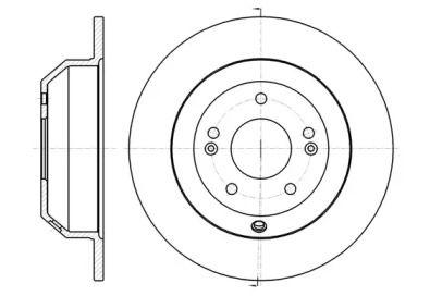Задний тормозной диск на HYUNDAI GRAND SANTA FE 'ROADHOUSE 61373.00'.