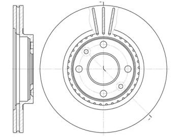 Вентилируемый передний тормозной диск на Дача Логан 'ROADHOUSE 6144.10'.
