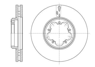 Вентилируемый передний тормозной диск на FORD TOURNEO CUSTOM 'ROADHOUSE 61563.10'.