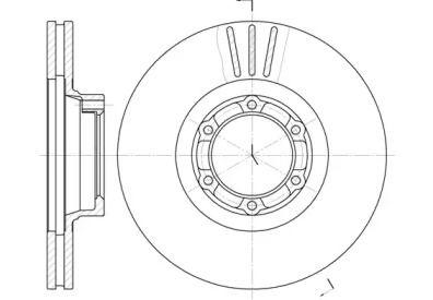 Вентилируемый передний тормозной диск на Рено Трафик 'ROADHOUSE 6157.10'.