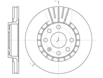 Вентилируемый передний тормозной диск на Опель Калибра 'ROADHOUSE 6178.10'.
