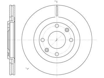 Вентилируемый передний тормозной диск на Ситроен Ксара 'ROADHOUSE 6240.10'.