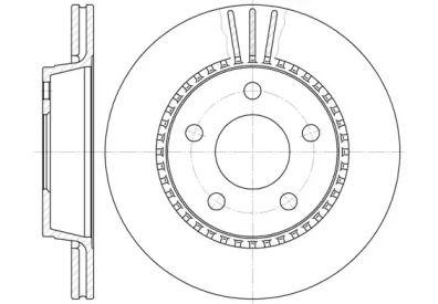 Вентилируемый задний тормозной диск на AUDI 200 'ROADHOUSE 6356.10'.