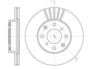 Вентилируемый передний тормозной диск на Акура Интегра 'ROADHOUSE 6369.10'.