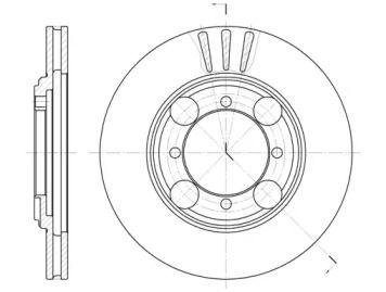 Вентилируемый передний тормозной диск на Хендай Лантра 'ROADHOUSE 6375.10'.