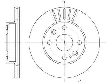 Вентилируемый передний тормозной диск на Мазда 121 'ROADHOUSE 6386.10'.