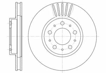 Вентилируемый передний тормозной диск на VOLVO V70 'ROADHOUSE 6410.10'.