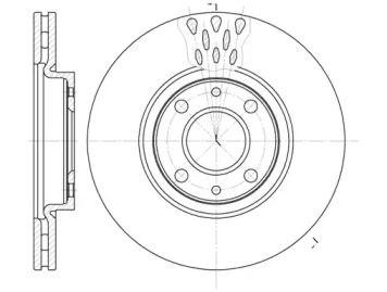 Вентилируемый передний тормозной диск на Ситроен Немо 'ROADHOUSE 6443.10'.