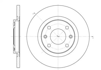 Передний тормозной диск на Ситроен С Элизе 'ROADHOUSE 6536.00'.