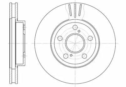 Вентилируемый передний тормозной диск на Тайота Приус 'ROADHOUSE 6540.10'.