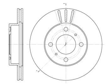 Вентилируемый передний тормозной диск на Митсубиси Лансер 'ROADHOUSE 6557.10'.