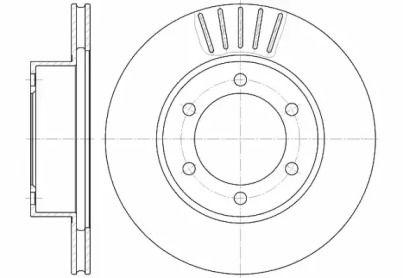 Вентилируемый передний тормозной диск на Тайота Ленд Крузер Прадо 'ROADHOUSE 6562.10'.