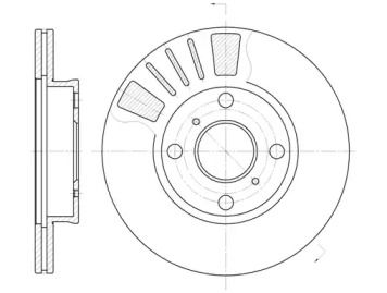 Вентилируемый передний тормозной диск на TOYOTA STARLET 'ROADHOUSE 6569.10'.