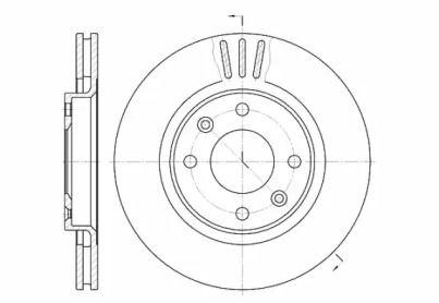 Вентилируемый передний тормозной диск на Ситроен С Элизе 'ROADHOUSE 6603.10'.