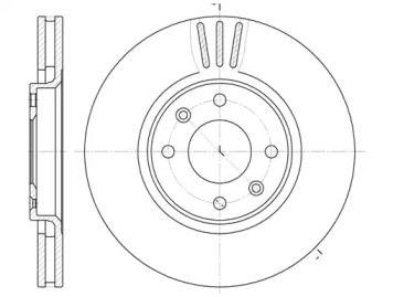 Вентилируемый передний тормозной диск на Ситроен ДС5 'ROADHOUSE 6604.10'.