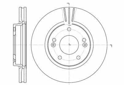Вентилируемый передний тормозной диск на Хендай Галлопер 'ROADHOUSE 6667.10'.